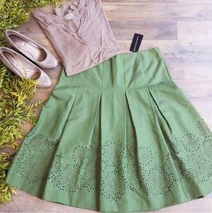 Dana Buchman • Ficus Green Embroidered Skirt